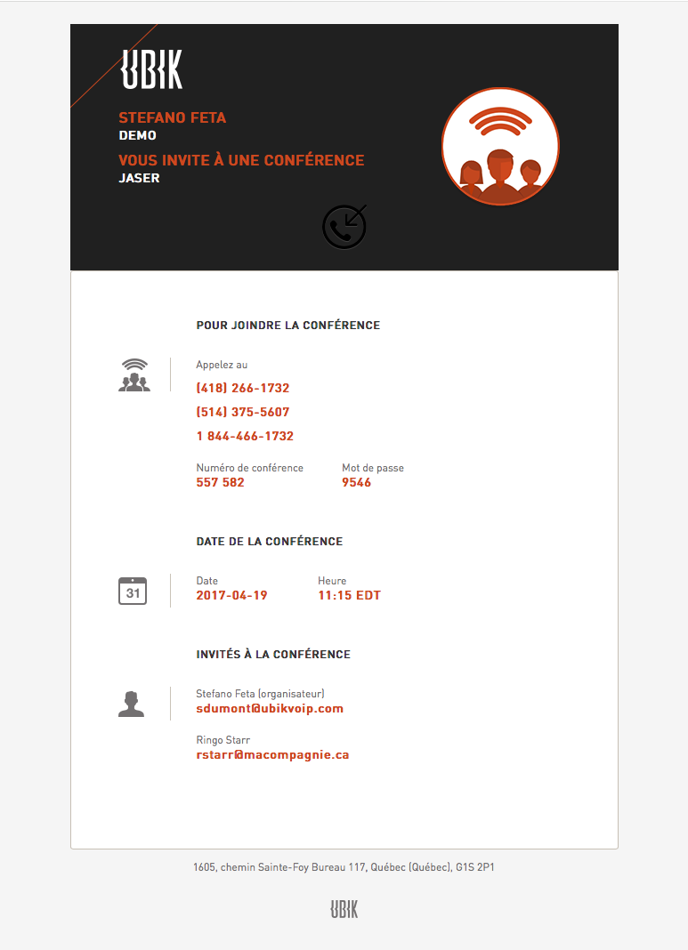 Email conference confirmation