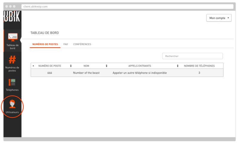 Section Utlisateurs dans l'interface